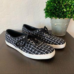 Keds Kate Spade Tweed Black White sneakers 7.5
